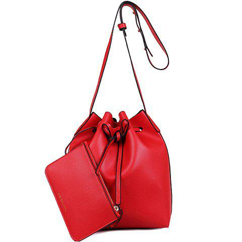 Shop Vintage Drawstring and PU Leather Design Crossbody Bag For Women - RED  Mobile