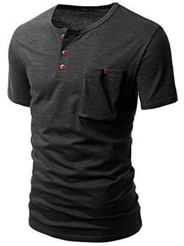 Trendy One Pocket Multi-Button Round Neck Short Sleeves T-Shirt For Men