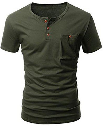 Chic One Pocket Multi-Button Round Neck Short Sleeves T-Shirt For Men ARMY GREEN L