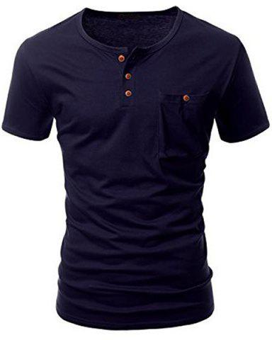 New One Pocket Multi-Button Round Neck Short Sleeves T-Shirt For Men DEEP BLUE M