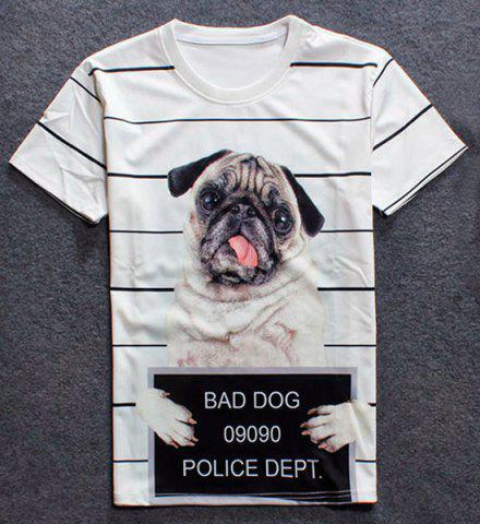 Chic Round Neck 3D Dog Print Short Sleeves Striped T-Shirt For Men
