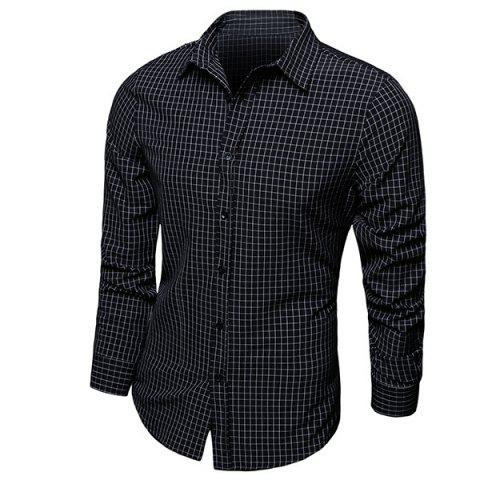 Store Color Block Checked Turn-down Collar Long Sleeves Shirt For Men BLACK M