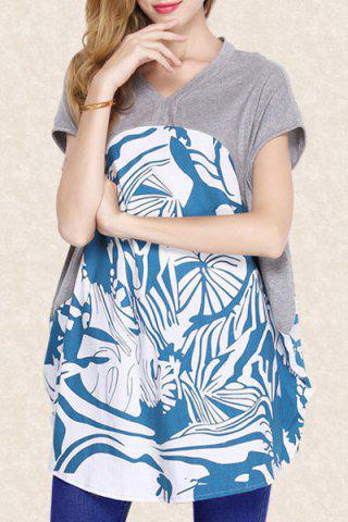 V Neck Batwing Sleeve Printed Pullover T Shirt 174551801