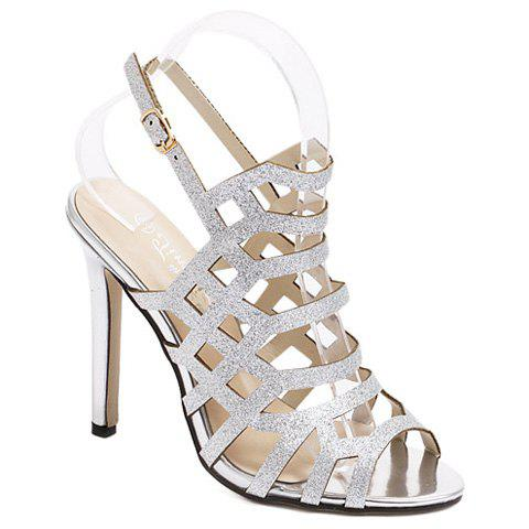 Stiletto Heel Slingback Caged Sandals - Silver - 38