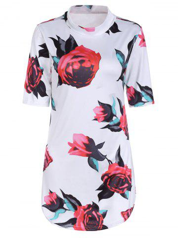 Affordable Sexy Stand Collar Short Sleeve Floral Print Bodycon Dress For Women