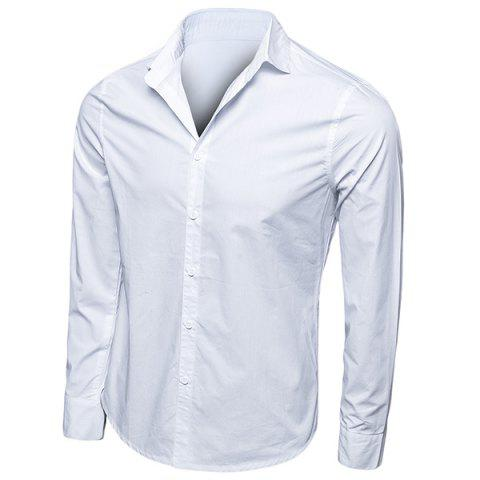 Latest Trendy Turn-Down Collar Solid Color Long Sleeve Men's Shirt WHITE M