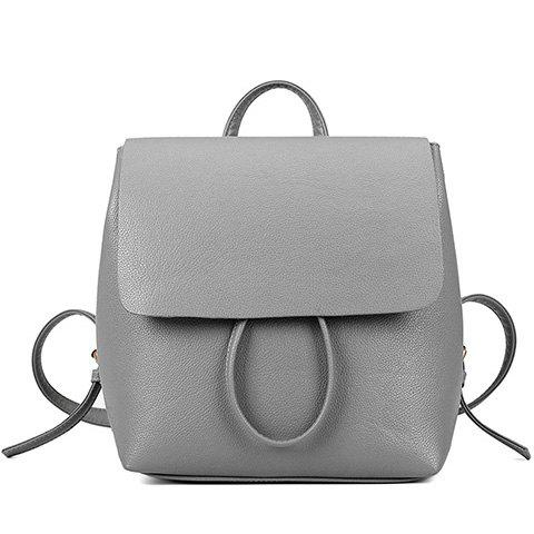 Affordable Preppy Style Drawstring and PU Leather Design Backpack For Women