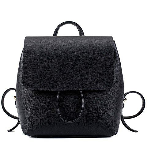 Fancy Preppy Style Drawstring and PU Leather Design Backpack For Women