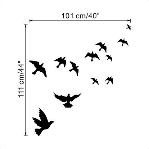 Latest Stylish Solid Color Flying Birds Pattern Removeable Wall Sticker -   Mobile