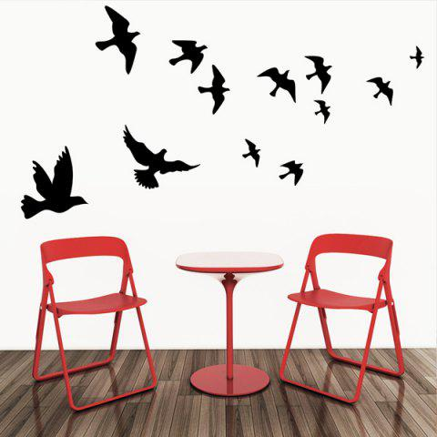black stylish solid color flying birds pattern removeable stylish bamboo pattern decorative background wall sticker