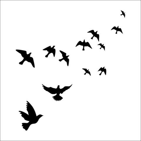 Hot Stylish Solid Color Flying Birds Pattern Removeable Wall Sticker -   Mobile