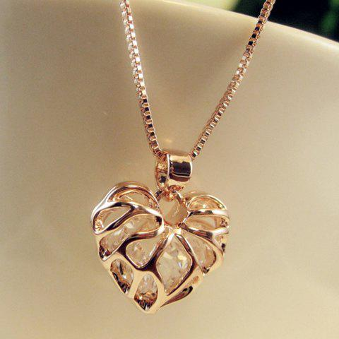 Outfit Hollow Out Rhinestone Heart Pendant Necklace