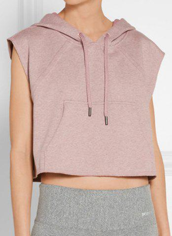 New Women's Active Hooded Sleeveless Candy Color Hoodie LIGHT PINK L