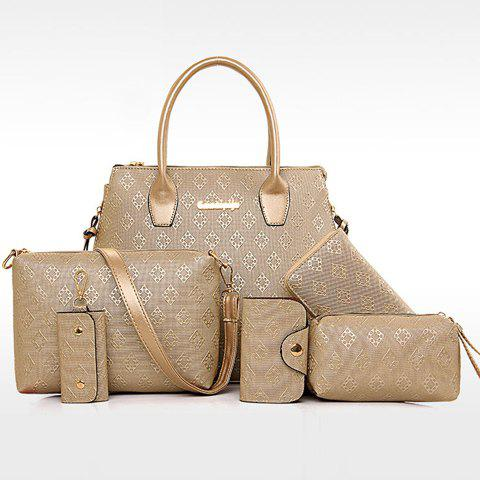 Chic Stylish Metal and Embossing Design Tote Bag For Women - PLATINUM  Mobile
