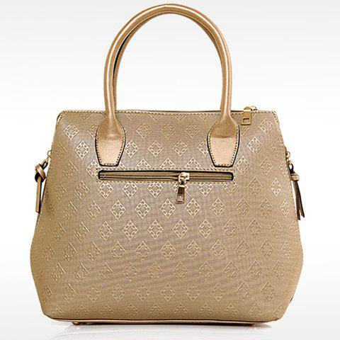 Hot Stylish Metal and Embossing Design Tote Bag For Women - PLATINUM  Mobile