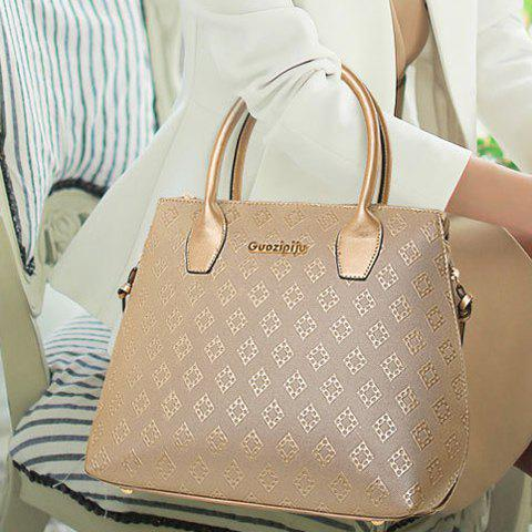 Store Stylish Metal and Embossing Design Tote Bag For Women - PLATINUM  Mobile