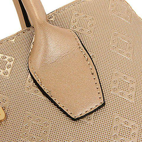 Online Stylish Metal and Embossing Design Tote Bag For Women - PLATINUM  Mobile