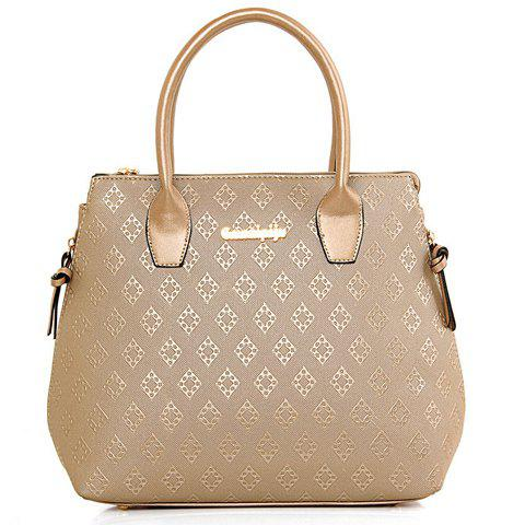 Discount Stylish Metal and Embossing Design Tote Bag For Women - PLATINUM  Mobile