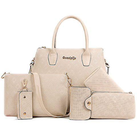 Stylish Metal and Embossing Design Tote Bag For Women - Off-white - 38