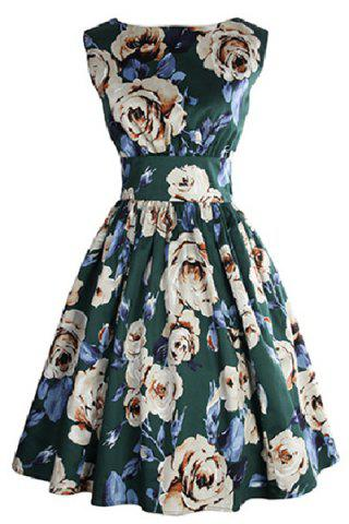 Chic Retro Style Sleeveless Round Neck Floral Print Women's Dress BLACKISH GREEN S