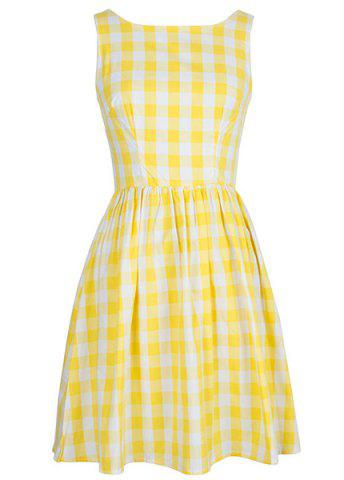 Trendy Retro Style Sleeveless Round Neck Plaid Women's Dress