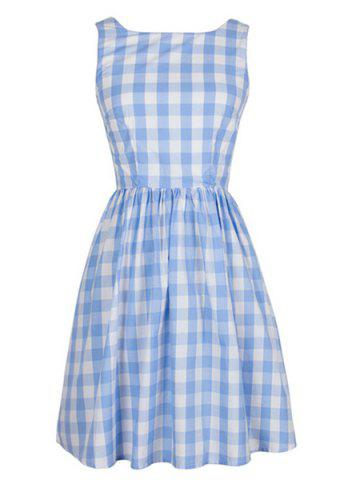 Affordable Retro Style Sleeveless Round Neck Plaid Women's Dress LIGHT BLUE XL