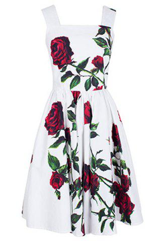 Trendy Vintage Square Neck Sleeveless Floral Print Women's Dress