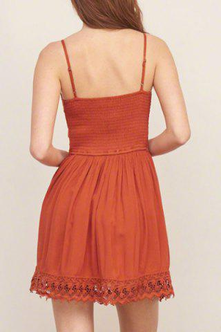 Trendy Strappy Lace Panel Going Out Flare Dress - L JACINTH Mobile