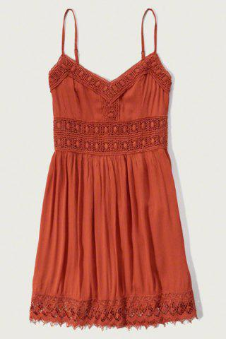 Shop Strappy Lace Panel Going Out Flare Dress - L JACINTH Mobile