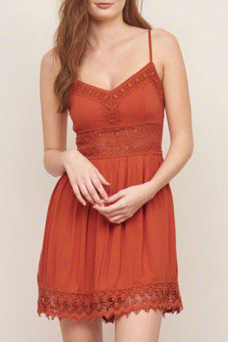 Trendy Strappy Lace Panel Going Out Flare Dress JACINTH M