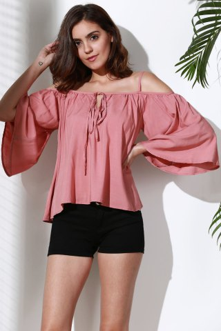 Outfits Flare Sleeve Loose Fit Trapeze Top PINK L