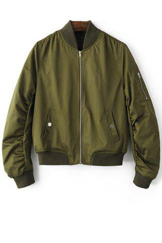 Large ARMY GREEN Stand Neck Long Sleeve Zip Up Pilot Jacket