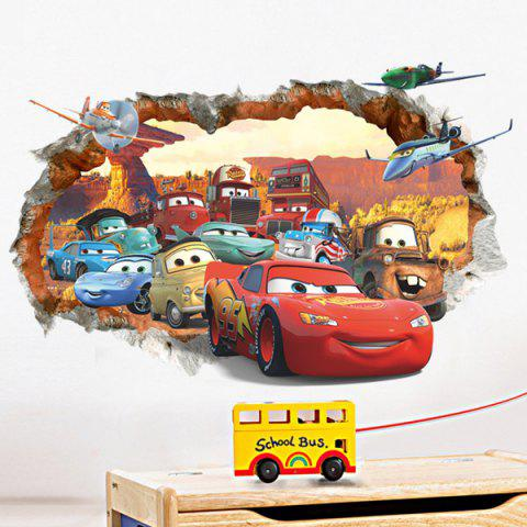 Affordable Stylish Cartoon Cars Pattern Broken Wall Shape Removeable 3D Wall Sticker