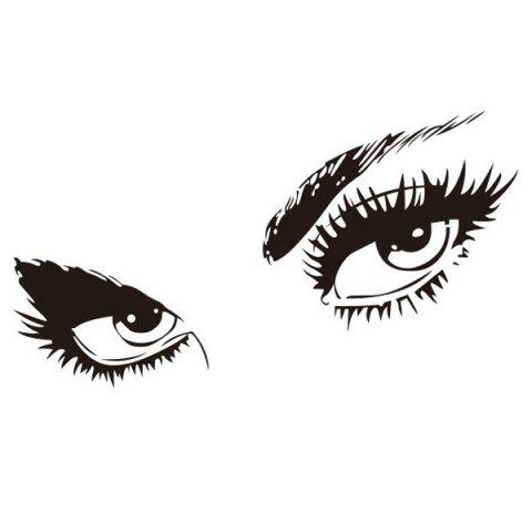 Unique Stylish Sexy Eye Pattern Removeable Wall Sticker - BLACK  Mobile
