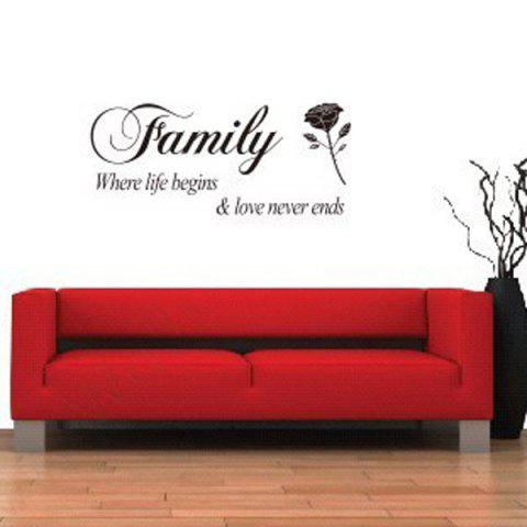 Buy Rose and Letter Removeable Wall Sticker Quotes