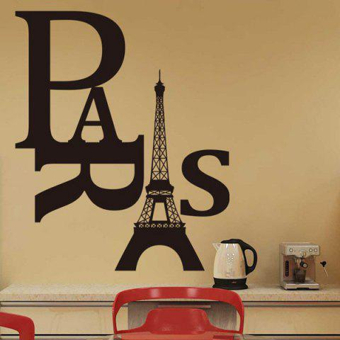 Unique Stylish Eiffel Tower and Letter Pattern Removeable Wall Sticker BLACK