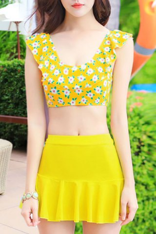 Online Refreshing Scoop Neck Floral Print High Waisted Three Piece Swimsuit For Women YELLOW M