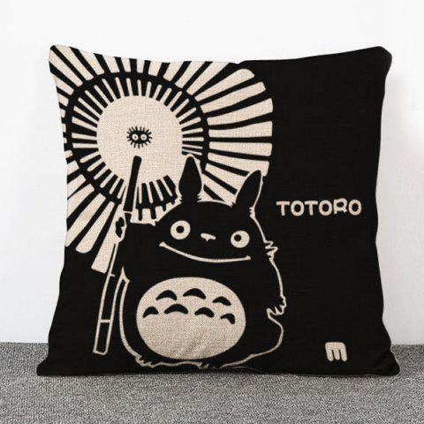 Trendy Fashion Cartoon Umbrella and Totoro Pattern Flax Pillow Case(Without Pillow Inner) - BLACK  Mobile