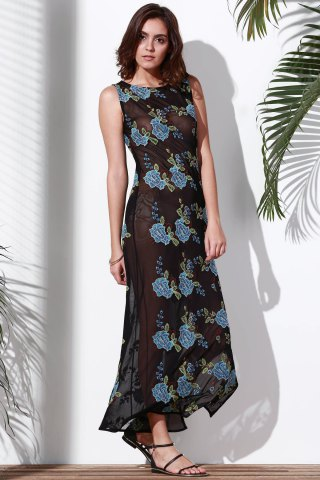 Sleeveless Slit Floral Embroidered Maxi Dress