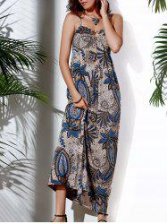 Casual Spaghetti Strap Abstract Printed Maxi Dress For Women