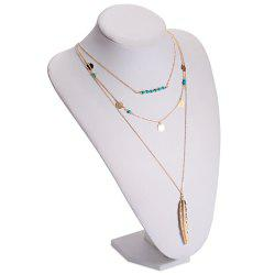 Retro Faux Turquoise Sequins Leaf Layered Necklace - GOLDEN