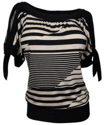 Loose Short Sleeve Striped Women's Plus Size T-Shirt -