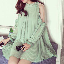 Cold Shoulder Mini Chiffon Pleated Dress