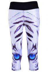 Eyes Print Running Capri Leggings - WHITE