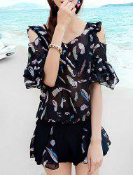 Refreshing Scoop Neck Feather Print Three Piece Swimsuit For Women -