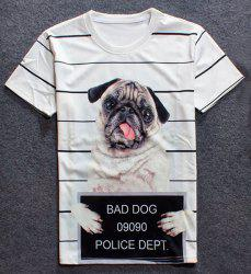 Round Neck 3D Dog Print Short Sleeves Striped T-Shirt For Men -