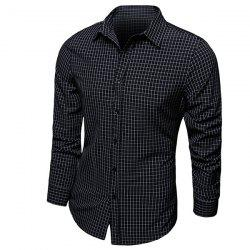 Color Block Checked Turn-down Collar Long Sleeves Shirt For Men -