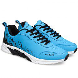 Trendy Flame Print and Lace-Up Design Athletic Shoes For Men -