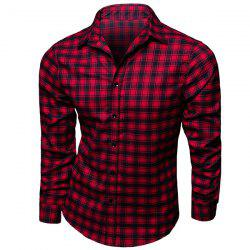 Trendy Turn-Down Collar Plaid Printing Long Sleeves Men's Shirt