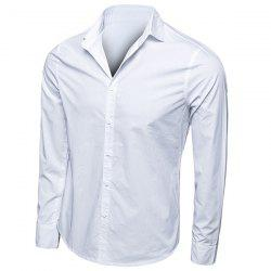 Trendy Turn-Down Collar Solid Color Long Sleeve Men's Shirt - WHITE M
